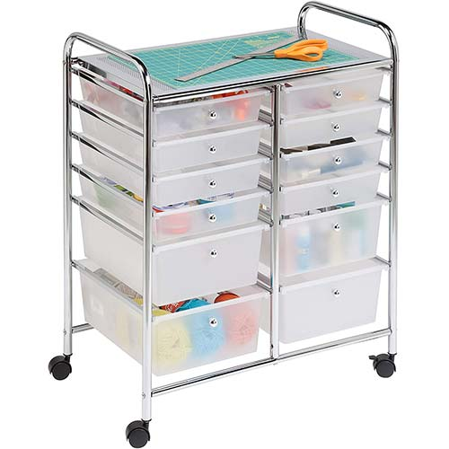 3. Honey-Can-Do Rolling Storage Cart and Organizer with 12 Plastic Drawers
