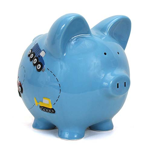 10. Child to Cherish Ceramic Piggy Bank for Boys, Construction Trucks