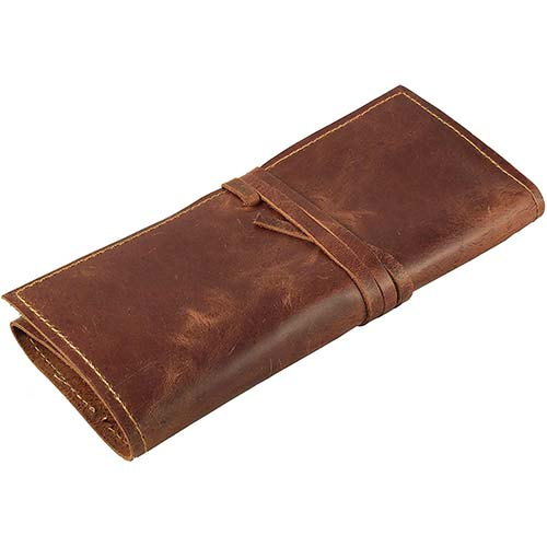 10. Rustic Genuine Leather Pencil Roll - Pen and Pencil Case