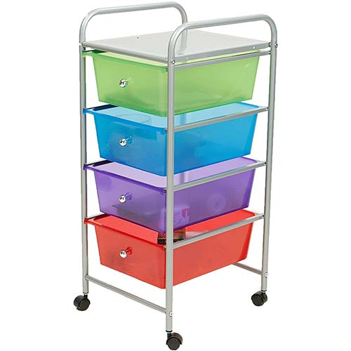 8. Mind Reader Rolling Storage Cart and Organizer with 4 Plastic Drawers