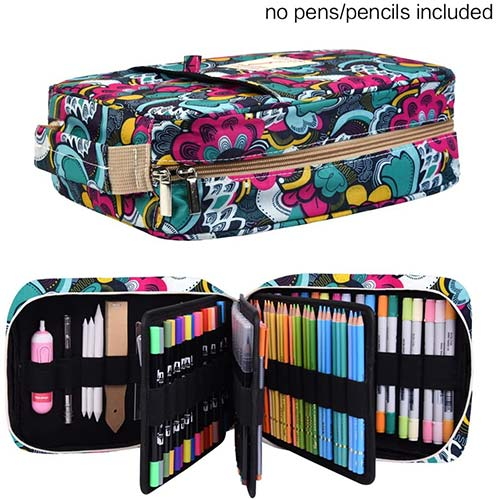 2. qianshan Pencil Case Holder Slot - Holds 202 Colored Pencils or 136 Gel Pens with Zipper Closure - Large Capacity Pen Organizer