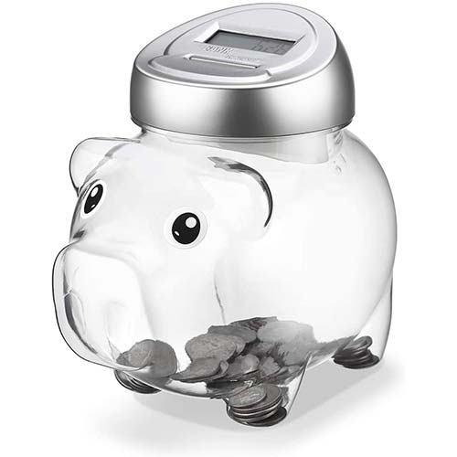 7. Younion Piggy Digital Coin Bank, Automatic Coin Counter Totals All U.S. Coins, Clear Money Saving Jar