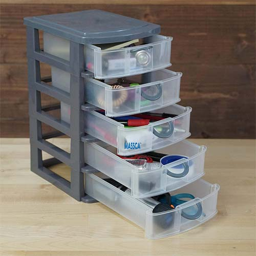 4. Massca 5 Drawer Storage Drawers and Personal Organizer, Heavy-Duty Plastic Containers