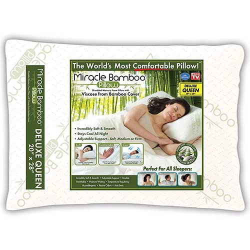 2. Ontel Miracle Shredded Memory Foam Pillow with Viscose from Bamboo Cover