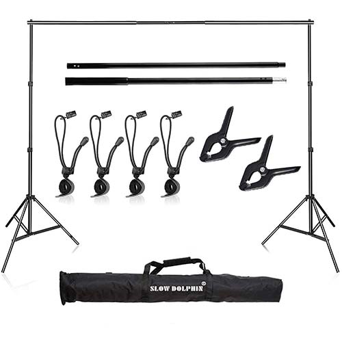 8. Slow Dolphin Photo Video Studio 10Ft Adjustable Backdrop Support System Kit Background Stand