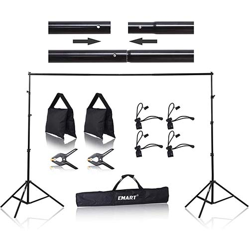 4. Emart 8.5 x 10 ft Photo Backdrop Stand, Adjustable Photography Muslin Background Support System Stand