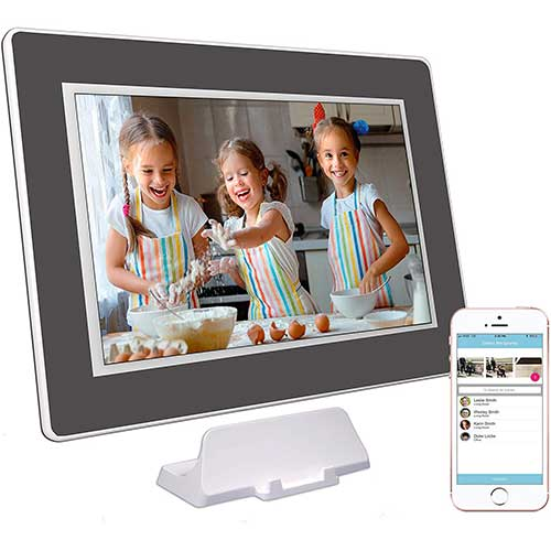 8. PhotoSpring (16GB) 10 inch WiFi Cloud Digital Picture Frame - Battery, Touch Screen,