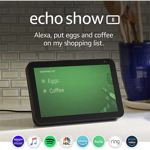 5. Echo Show 8 -- HD smart display with Alexa – stay connected with video calling