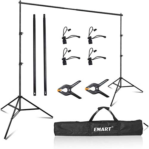 10. Emart Photo Video Studio 8 x 8 ft Backdrop Stand, Adjustable Photography Muslin Background Support System Kit