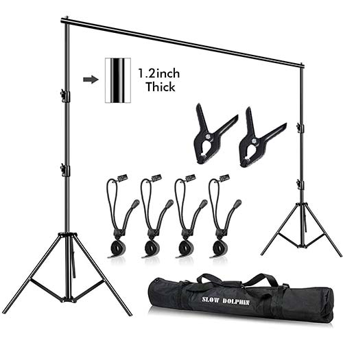 5. Slow Dolphin Photo Video Studio 10ft (W) x 9.2ft (H) Heavy Duty Adjustable Photography Backdrop Stand Background Support System