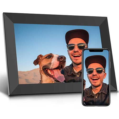 6. Jeemak Digital Picture Frame 10.1 inch WiFi Photo Frame with HD IPS Touch Screen Portrait or Landscape