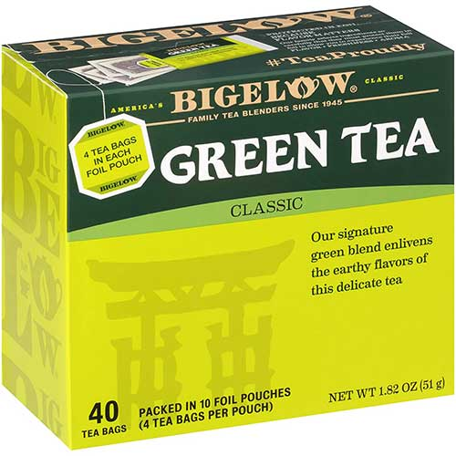 8. Bigelow Classic Green Tea Bags, 40-Count Boxes (Pack of 6), Caffeinated Green Tea, 240 Tea Bags Total