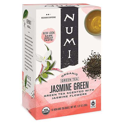 6. Numi Organic Tea Jasmine Green, 18 Count (Pack of 3) Box of Tea Bags