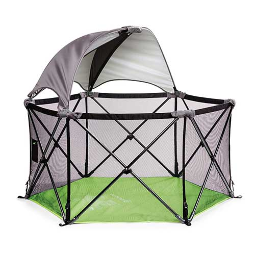 6. Summer Pop 'n Play Ultimate Playard, Green –Play Pen with Removable Canopy for Indoor and Outdoor Use