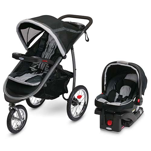 9. Graco FastAction Fold Jogger Travel System | Includes the FastAction Fold Jogging Stroller and SnugRide 35 Infant Car Seat