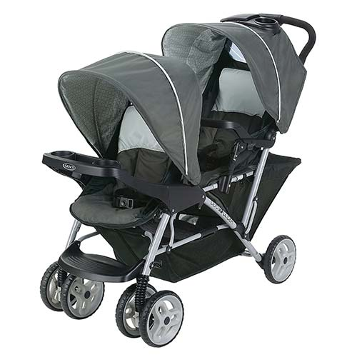 1. Graco DuoGlider Double Stroller | Lightweight Double Stroller with Tandem Seating, Glacier