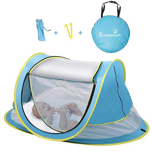 4. SUNBA YOUTH Baby Tent, Portable Baby Travel Bed, UPF 50+ Sun Shelters for Infant