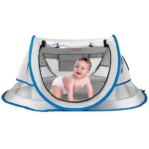1. FITNATE Baby Beach Tent, PortableInfant & Toddler Travel Beds, UPF 50+ with Moisture-Proof Pad