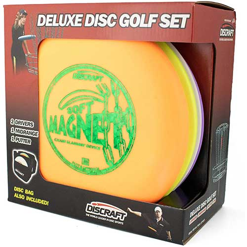 1. Discraft Deluxe Disc Golf Set (4 Disc and Bag) Models and plastic blends may vary
