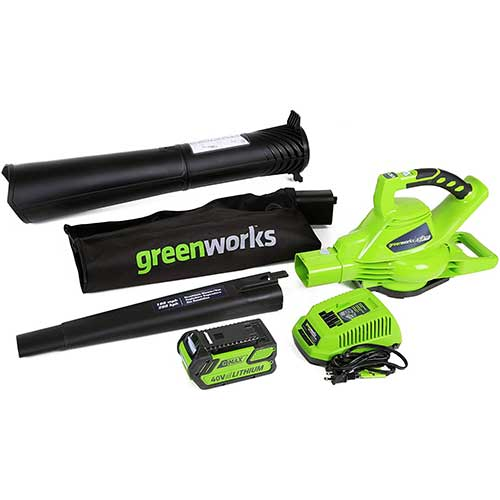 4. Greenworks 40V 185 MPH Variable Speed Cordless Leaf Blower/Vacuum