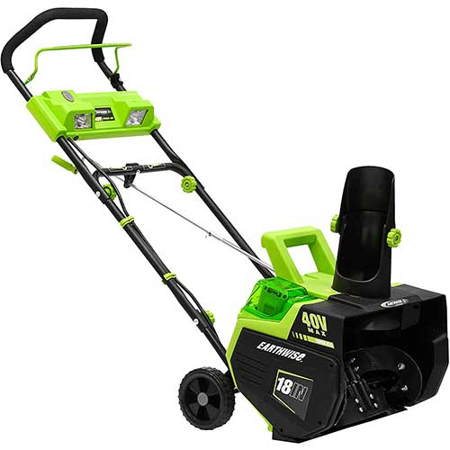 4. Earthwise SN74018 Cordless Electric 40-Volt 4Ah Brushless Motor, 18-Inch Snow Thrower, 500lbs/Minute