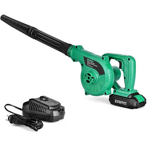 8. K I M O. Cordless Leaf Blower - 20V 2.0 Ah Lithium Battery 2in1 Sweeper/Vacuum for Blowing Leaf