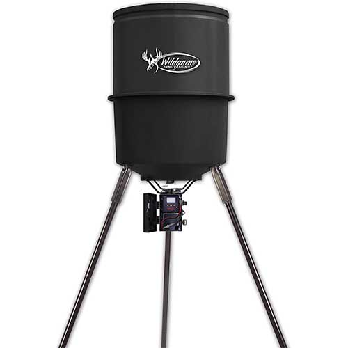 2. Wildgame Innovations Tri-Pod Deer Feeder, easy to use feeder with 4 feed times