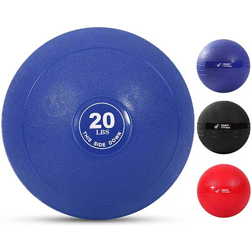 6. Day 1 Fitness Weighted Slam Ball - 9 Weight, 3 Color and Bundle Options - No Bounce Medicine Ball