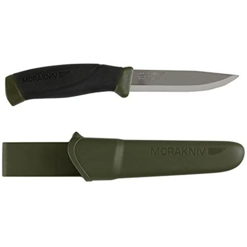 1. Morakniv Companion Fixed Blade Outdoor Knife with Sandvik Stainless Steel Blade, 4.1-Inch