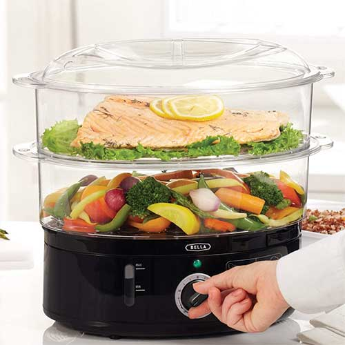 3. BELLA Two Tier Food Steamer, Healthy, Fast Simultaneous Cooking, Stackable Baskets for Vegetables or Meats, Rice/Grains Tray