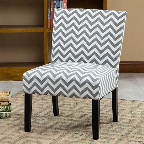 Best Living Room Chair for Neck Pain 7. Roundhill Furniture Botticelli Grey Wave Print Fabric Armless Contemporary Accent Chair, Single