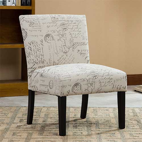 Best Living Room Chair for Neck Pain 2. Roundhill Furniture Botticelli English Letter Print Fabric Armless Contemporary Accent Chair, Single