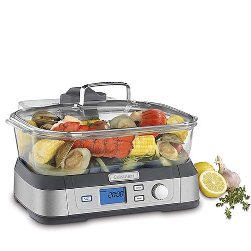 8. Cuisinart Digital Glass Steamer, One Size, Stainless Steel