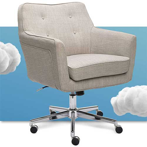 Best Living Room Chair for Neck Pain 10. Serta Ashland Ergonomic Home Office Chair with Memory Foam Cushioning, Chrome-Finished Stainless Steel Base, 360-Degree Mobility