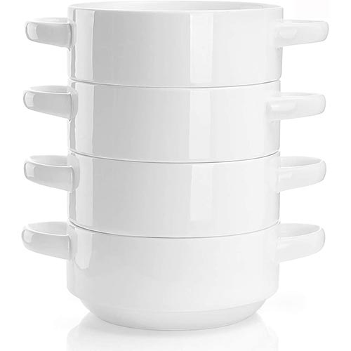 2. Sweese 108.101 Porcelain Bowls with Handles - 20 Ounce for Soup, Cereal, Stew, Chill, Set of 4, White