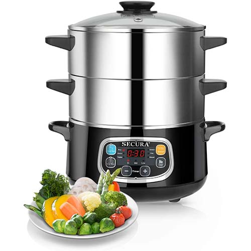 4. Secura Electric Food Steamer, Vegetable Double Tiered Stackable Baskets with Timer 1200W Fast Heating Stainless Steel Digital Steamer