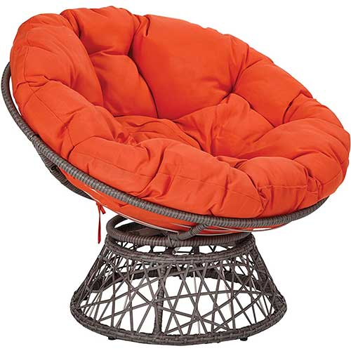 Best Living Room Chair for Neck Pain 3. OSP Designs BF25292-18 Papasan Chair with 360-degree Swivel, Orange cushion and Grey Frame