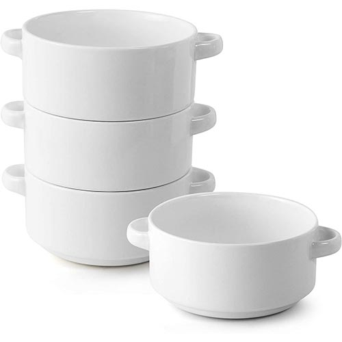 8. Porcelain Soup Bowls with Handles, Set of 4, 20 Ounce Ceramic Crocks for French Onion Soup, Cereal, Oatmeal or Chili