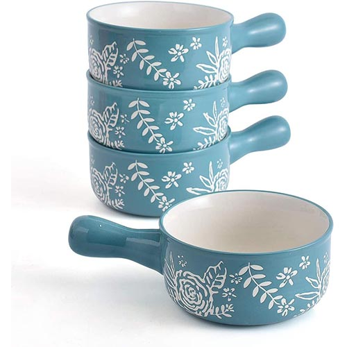3. KINGSBULL HOME Soup Bowls with Handles Soup Bowls Ceramic Soup Bowl Soup Mug French Onion Soup Crocks